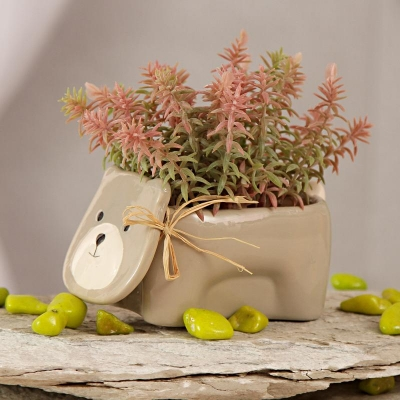 Teddy Ceramic Pot with Shaded Leaves