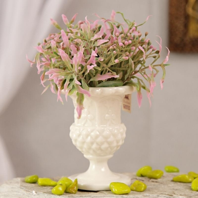 Pink Artificial Flowers in Ceramic Pot