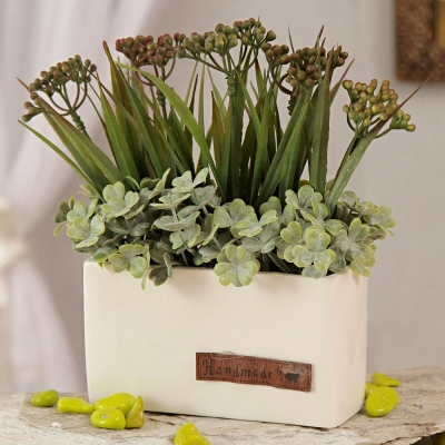 Square Ceramic Pot with Artificial Flowers and Leaves