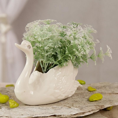 White Swan Shaped Ceramic Pot with Artificial Flowers