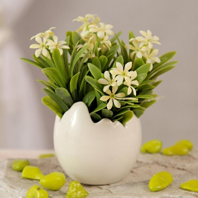 Round Ceramic Pot with White Artificial Flowers
