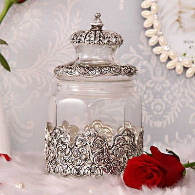Magnificent White Metal Based Glass Jar