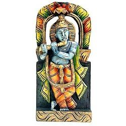 Gopala Playing Flute : Wooden Carved Paintings