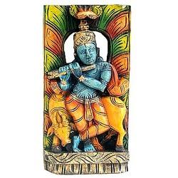 Krishna With Cow : Wooden Carved Paintings