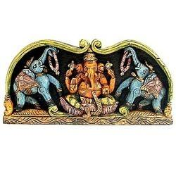 Blessed Ganesha : Wooden Carved Paintings