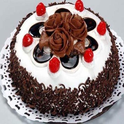 Cake Images With Name Pooja : 1 kg tasty crunchy black forest cake