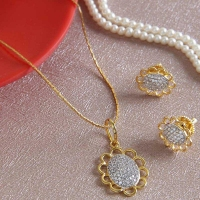 Designer Gold Plated Necklace with Earrings