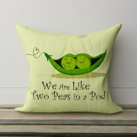 Peas Printed White Satin Pillow