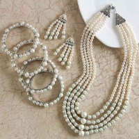 Four Layered Pearl Necklace Set with Bangles