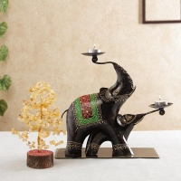 Elephant Shaped Candle Stand with Feng Shui Tree