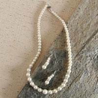 Single Layered Pearl and CZ Stone Necklace Set