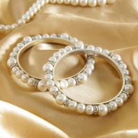 White Pearls with CZ Stone Bangles