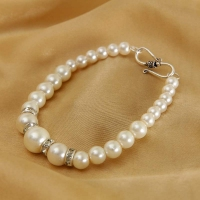 White Pearl Bracelet with CZ Stones