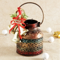 Iron Candle Pot with Christmas Decoration