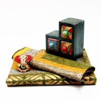 Three Drawer Wooden Box With Bed Sheet And Ganesha