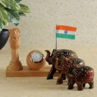 Ashoka Stambh Clock and Flag Holder with Elephants Set