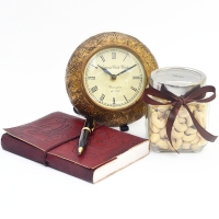 Antique Table clock with Diary and Pen Combo