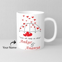 White Personalized Mug with Two Name Slots