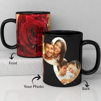 Love U dear personalized black ceramic mug