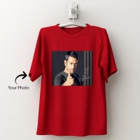Personalized red cotton T-shirt 143