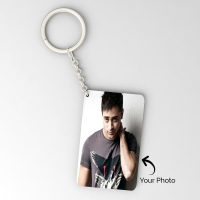Curve shape single side friends photo key chain
