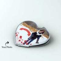 Lovely Heart Shape Mirror Personalized with One Photo