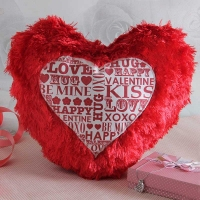 Heart Shape Valentine Fur Pillow