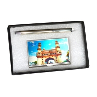Charminar Steel Card Holder with Pen Gift Set