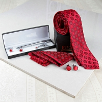 Red Tie and Cufflink Set with Pen Set