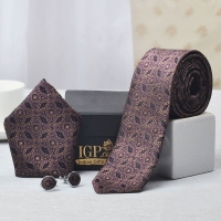 Stylish Patterned Tie With Pocket Square and Cufflinks