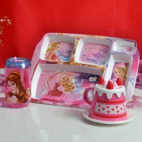 Barbie Square Plate with Bottle and Saucer