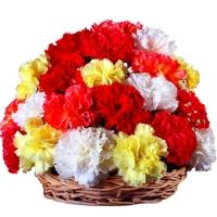 Basket of Love Carnations Flowers