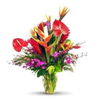 Exotic Flowers Vase Arrangement