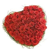 75 Red Roses Heart Basket