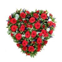 50 Red Roses Heart Basket