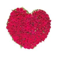 100 Red Roses Heart Basket