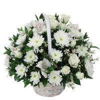 White Flower Sympathy Basket