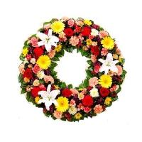Colourful Flowers  Condolence Wreath