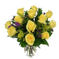 12 Yellow Roses Arrangement