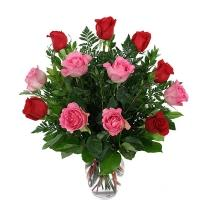 Pink and Red Roses Vase Arrangement