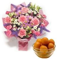 Gulab Jamun Delight with Flowers