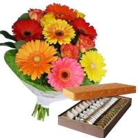 Delicious Sweets with Colourful Gerberas N Roses