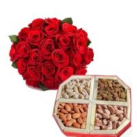 25 Roses Bouquet with Assorted Dryfruits Box
