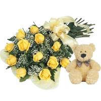 Yellow Roses with Teddy Surprise