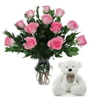 Enduring Love Pink Roses with Teddy