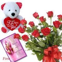 Red Roses N Teddy with Free Card
