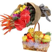 Elegant Arrangement of Fruits and Flowers