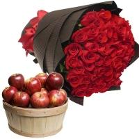 50 Rose with Apple Basket