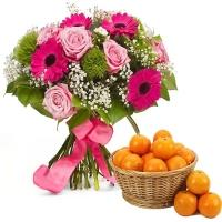 A Tropical Flower & Orange in a Basket