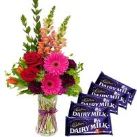 Mix Flowers Vase with Chocolates